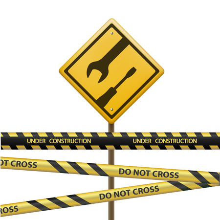do not cross: Metal sign under construction. Signal Tape with the inscription do not cross. Isolated on white background. Stock vector illustration. Illustration