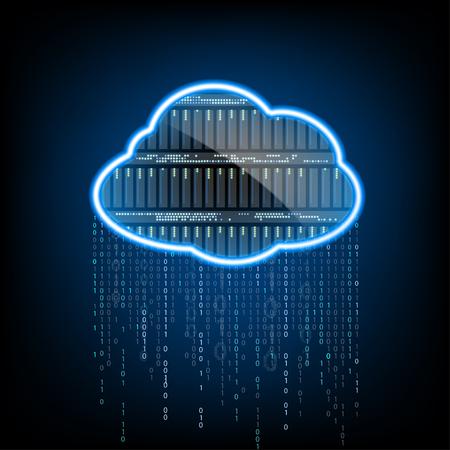 Cloud Computing. Server für die Datenspeicherung. Zusammenfassung Technologie Hintergrund. Vektor-Illustration.