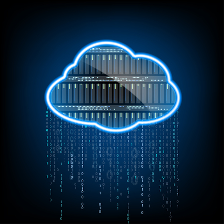 computação em nuvem. Servidor para armazenamento de dados. Fundo abstrato da tecnologia. Ilustração Banco de vetores. Ilustración de vector