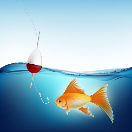 lure: Goldfish in water and a fishing hook with a float. Stock vector illustration.