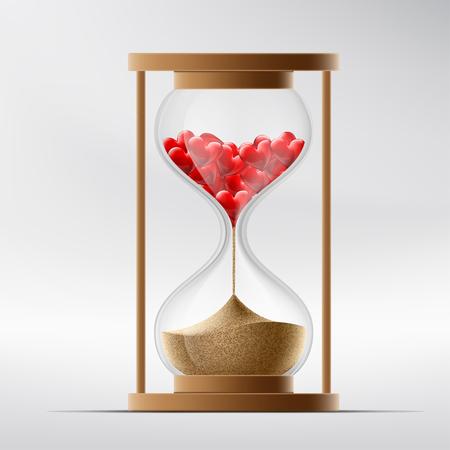 Reloj de arena con el corazón humano. Enfermedad de un infarto de miocardio y la muerte. Ilustración vectorial material.