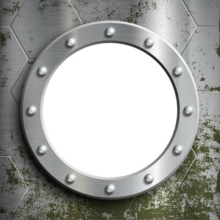 porthole window: Metal porthole with rivets. Window on the a submarine. Stock vector illustration.