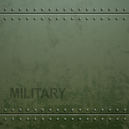 Old military armor texture with rivets. Metal background. Stock vector illustration. Ilustração