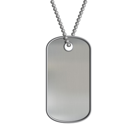 Blank metal tags hanging on a chain. ID military soldier. Isolated on white background. Stock vector illustration. Illustration