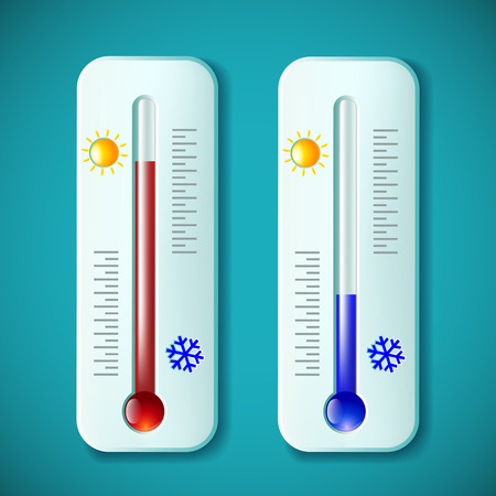 rising temperature: Set mercury thermometers. Heat and cold. Stock vector illustration.