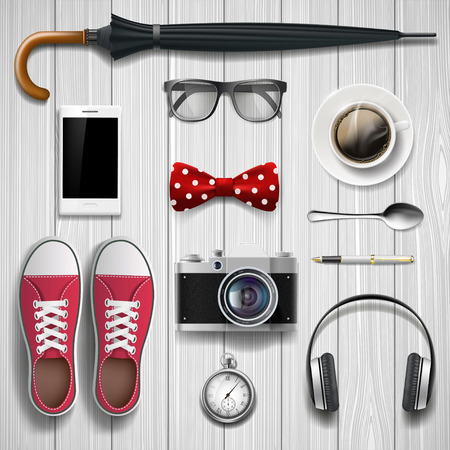 vector set: Set of items and accessories for the student and hipster. Lying on a wooden background. Stock vector illustration.