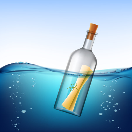 message in a bottle: Glass bottle with message, floats in the water. Stock vector illustration. Illustration