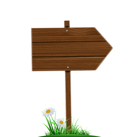attention: Wooden direction pointer. Road sign isolated on a white background. Stock vector illustration. Illustration