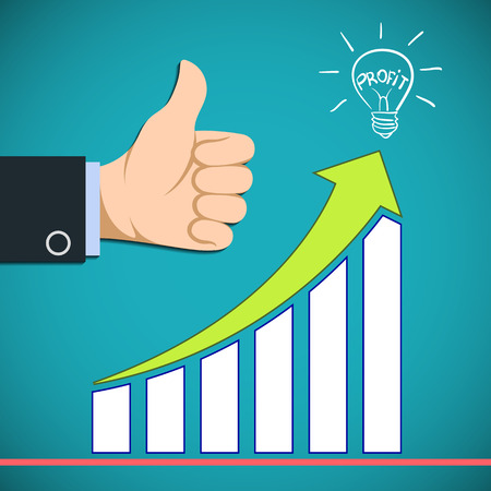 increased: Graph the growth of profit. Increased revenue. Stock vector illustration. Illustration