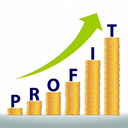profits: Graph revenue growth and profits. Gold coins stacked pile. Stock vector illustration.
