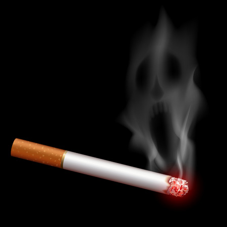 habit: Cigarette with smoke in the form of a monster. Bad habit. Stock vector illustration.