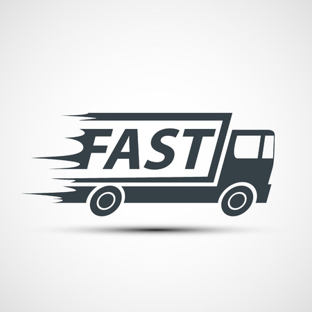 trucking: Icon truck of cargo delivery. Stock vector illustration.