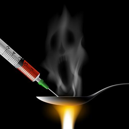 약물 및 주사기와 숟가락. 나쁜 습관. 헤로인 과다 복용에서 사망. 재고 벡터 일러스트 레이 션.