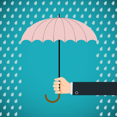 weatherproof: Human hand holding an umbrella. Protection from rain. Stock vector illustration. Illustration