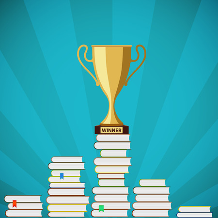 rewarding: Gold Cup is standing on a pile of books. Stock vector illustration. Illustration