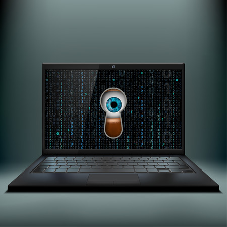 pry: Human eye in the keyhole and a laptop. Cybercrime. Stock vector illustration.