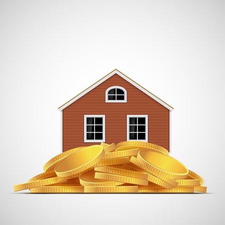 valuation: House stands on a pile of gold coins. Real estate valuation. Stock vector illustration.