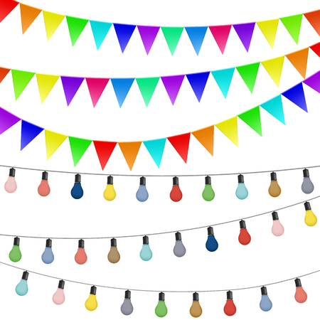 Garlands of flags and colored lamps. Decorations isolated on white background. Stock vector illustration. Banco de Imagens - 56617288