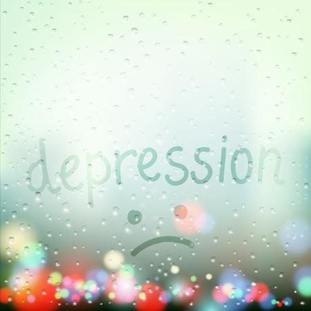 rain window: Rain on the window. Word depression is written a finger on the wet glass. Stock vector illustration.