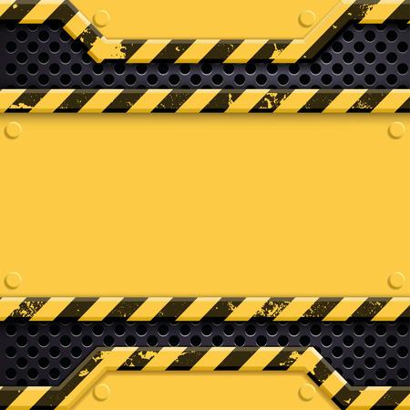 attrition: Industrial metal technology background. Danger sign. Stock vector illustration. Illustration