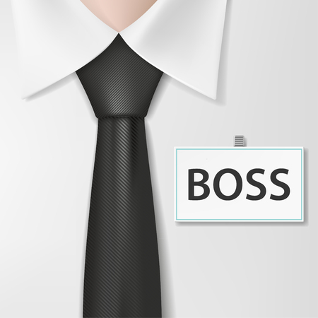 snob: Badge with the inscription boss, on a white shirt. Stock vector illustration. Illustration