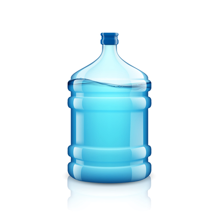 waterworks: Icon big bottle with clean water. Plastic container for the cooler. Isolated on white background. Stock vector illustration.