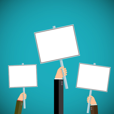 demonstrations: People hold signs in their hands. Pickets and demonstrations. Stock vector illustration.
