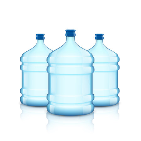 waterworks: Big bottle with clean water. Plastic container for the cooler. Isolated on white background. Stock vector illustration.
