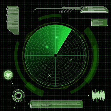 blip: Military green radar. Screen with target. Futuristic HUD interface. Stock vector illustration.