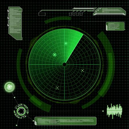 sonar: Military radar verde. Schermo con l'obiettivo. Futuristico interfaccia HUD. illustrazione Archivio vettoriale.