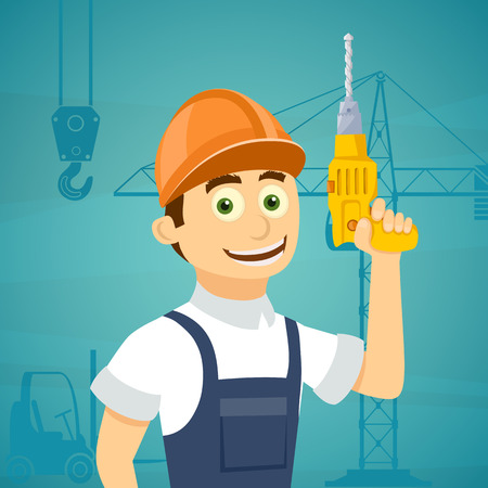 drill: Construction worker with a drill tool in his hand. Stock vector illustration.