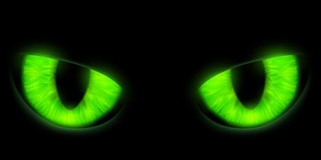 ojos verdes: gatos verdes ojos aislados en un fondo negro. Ilustración vectorial material. Vectores