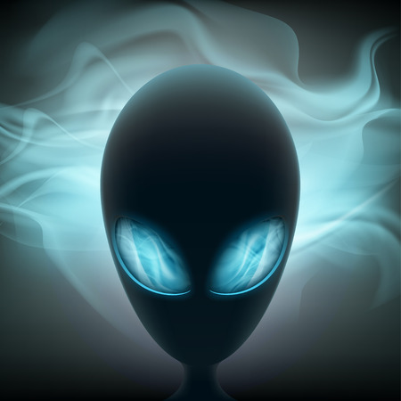 alien head: Alien head with glowing eyes on a dark background. Stock vector illustration.