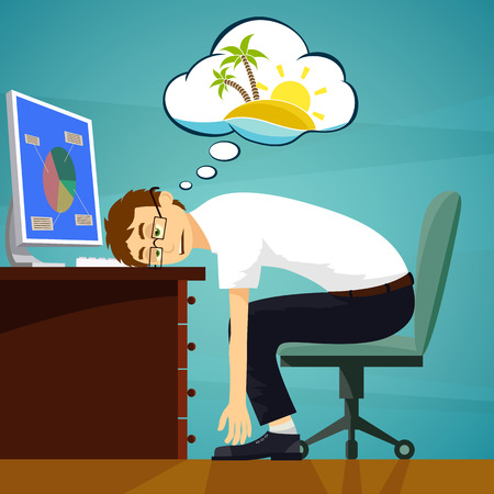 sitting people: Tired worker in the workplace. Dreaming about vacation. Stock vector illustration.