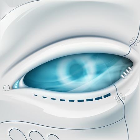 robot face: Robot Eye. Mechanical face. Stock vector illustration.