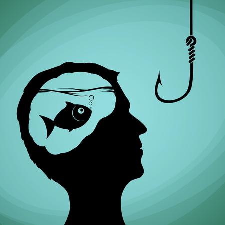 Pescado en la cabeza humana. Hombre que mira en un anzuelo de pesca. Mentiras, el engaño y el fraude. Ilustración vectorial material.
