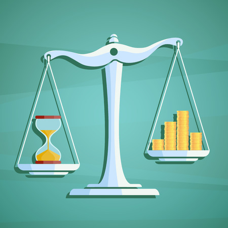 stock exchange brokers: Scales with a heap gold coins and hourglass. Stock vector illustration.