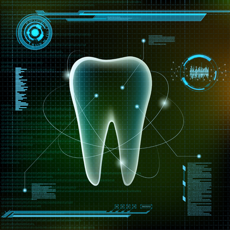 fillings: Human tooth. Futuristic infographic design. Stock vector illustration.