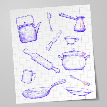 cooking utensil: Kitchen utensils drawn on a sheet of paper. Doodle image. Stock vector illustration. Illustration