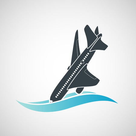 fuselage: Plane Crash icon. A terrorist act. Stock vector illustration