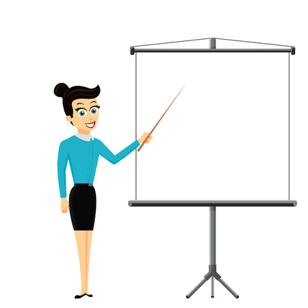 business space: Girl shows pointer on white billboard with empty space. Business presentation. Stock vector illustration.