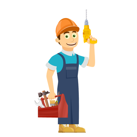 drill: Construction worker holds in hands a tool box. Stock vector illustration.