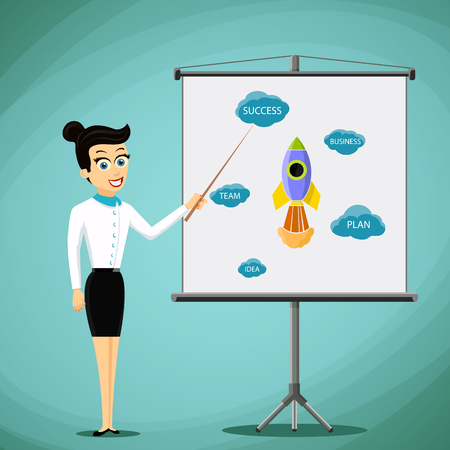 flipchart: Woman showing a business presentation on the board. Stock vector illustration.