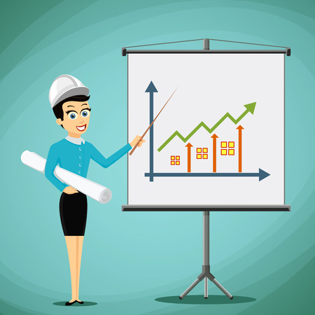 real estate growth: Woman engineer showing on the board a graph of real estate growth. Stock vector illustration. Illustration