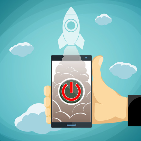 push up: Human hand holding a smartphone with a button and a rocket. Stock vector illustration. Illustration