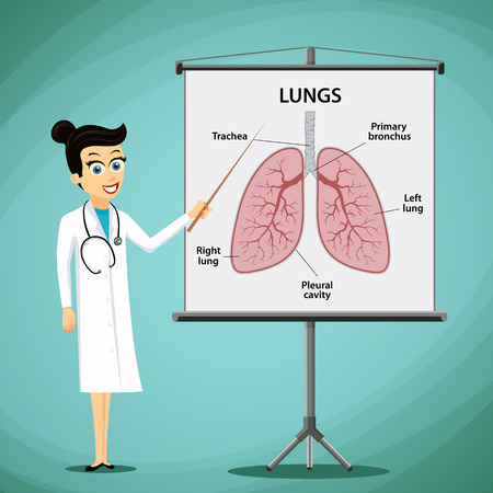Woman doctor shows on the blackboard human lungs. Medical infographics. Stock vector illustration.