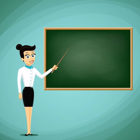 divulge: Woman Teacher show pointer on blackboard. Back to school. Stock vector cartoon illustration. Illustration