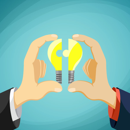 Two men fold bulb in the form of a puzzle. Symbol partnership and collaboration. Stock cartoon illustration. Illustration