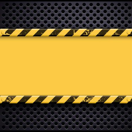 yellow beware: Metal industrial grunge background. Stock illustration. Illustration