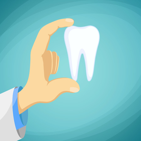 dental pulp: Doctor dentist holding a human tooth in his hand. Stock cartoon illustration.